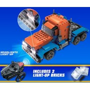 UNIBlock, Remote Control Peterbilt Truck with headlights that light up, 274 pc, Lego Compatible, RC
