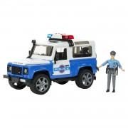 Bruder 02595 macchinina land rover defender della polizia, con poliziotto ed effetti sonori e luminosi
