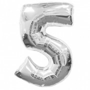 Balon folie cifra 5 argintiu