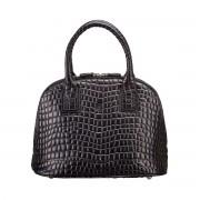 Damen Mock Croc Leder Tote Handtasche in Schwarz - Schultertasche, Umhängetasche, Shopper, Henkeltasche