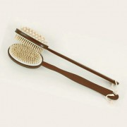 Massage & ryggborst, brun, dubbelsidig, avtagbar skaft