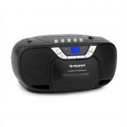 auna Beeboy Boom Box, fekete, boombox, hordozható rádió, CD/MP3 lejátszó, kazettás lejátszó (CS15-BeeBoy BK)