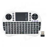 Wireless 2.4G USB 2.0 de 92 teclas del teclado del raton mosca del aire - Blanco + Negro