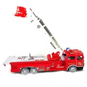 """Large 16"""" Fire Truck Toy With Expandable Ladder Fire Engine Bump N Go Action Lights And Sounds"""