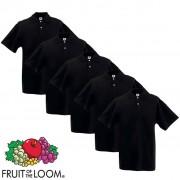 Fruit of the Loom 5 pz Maglietta Polo originale uomo nera XXL