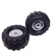 Lego Parts: City Construction Wheels Tire and Rim Bundle (2) Black 37 x 18R Tires (2) Light Bluish Gray 18mm D. x 14mm Rims with (Pin Hole