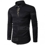 GearBest Male Cotton Tops Casual Long Sleeve Shirt with Hid Button