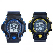 Vitrend Jiaji Blue And Yellow (Random color will be sent) Return Gift Combo Digital Watches For Boys and Girls