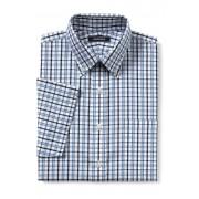 ランズエンド LANDS' END メンズ・ノーアイロン・スーピマ・ピンポイント/柄/ボタンダウン/ベーシックフィット/半袖/シャツ(ブルーウェーブウィンドウペイン)