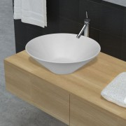 vidaXL Кръгла керамична мивка за баня, бяла