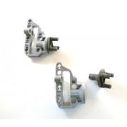 Lego Technic: Light Bluish Gray Steering Portal Axle Housing + Dark Bluish Gray Steering Wheel Hub 3 Pin Round - Each Sorte 2x Loose