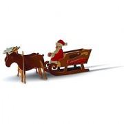 TruTru Animals Santa's Sleigh European 3D Puzzle DIY Craft Kit ; Arts and Crafts Model Kit