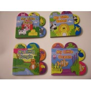 Animal Educational 4 Tabbed Board Book Set ~ My Little Safari (Differences), Ocean (Size & Colors), Farm (Animal Noises) & Jungle (Numbers) (2012)