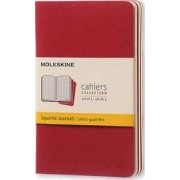 Moleskine Squared Cahier - Red Cover (3 Set) by Moleskine