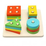 Funmily Wooden Geometric Sorting Board Block Stack Sort Shape Color Recognition Educational Toys