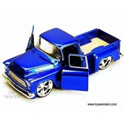 1955 Chevy Chevrolet Stepside Pickup BIGTIME KUSTOMS Diecast 1:24 Scale Blue