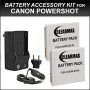ClearMax Battery (2-Pack) and Charger for Canon NB-6L NB-6LH CB-2LY and Canon PowerShot D10 D20 D30 ELPH 500 HS S90 S95 S120 SD770 IS SD980 IS SD1200 IS SD1300 IS SD3500 IS SD4000 IS SX170 IS SX240 HS SX260 HS SX270 HS SX280 HS SX500 I