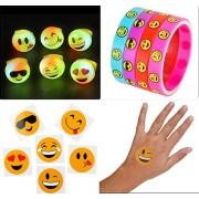 12 Led Light Up Flashing Emoji Rings Emoticon Jelly Ring + 12 Emoji Bracelets + 72 Tattoos, Bundle Of 96 Pcs