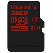 Kingston Digital 32GB microSDHC UHS-I Speed Class 3 Flash Memory Card (SDCA3/32GBSP)