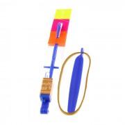LED Rubberband Slingshot juguete del helicoptero Rocket Light-up del vuelo - azul