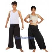 Thai fisherman Pants Yoga Trousers Black 2 lengths One-size