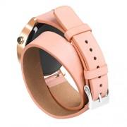 Leder Armband GOOQ 16mm verstellbares schweißbeständiges Uhrenarmband für Moto 360 2nd Gen Damen Champagner