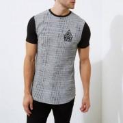 River Island Mens Grey marl rib muscle fit longline T-shirt