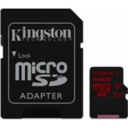 Card de Memorie Kingston microSDXC 64GB UHS-I U3 Clasa 10 cu adaptor