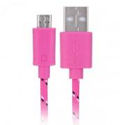 Universele Micro USB Nylon Kabel 100 cm - Roze