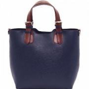 Sac Cabas Cuir Femme Bleu Marine -Tuscany Leather-