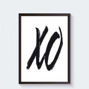 Zwart wit poster met XO