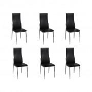 vidaXL 6 jedálenské stoličky z chrómu a čiernej kože