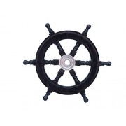 Handcrafted Model Ships Deluxe Class Black Wood and Chrome Decorative Pirate Ship Steering Wheel 12""