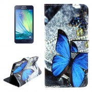 Butterfly Pattern Colored Drawing Leather Case with Holder & Card Slots & Wallet for Samsung Galaxy A3 / A300F