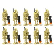 LEGO Star War LOT of 10 BATTLE DROID Figures with BACKPACK Back Plate Antenna and BLASTER GUN Accessories Minifig Minifigure Federation Army Builder Set