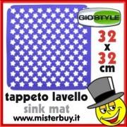 TAPPETO LAVELLO RIFLORI 32 x 32 cm GIOSTYLE BLU
