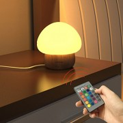 ANGTUO Night Light LED Mushroom Lamp Silicone with Wireless Remote Control 16 Different Color for Kid Bedroom - US Plug