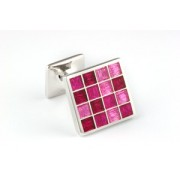 Mousie Bean Enamelled Cufflinks Multi Square 105 Tonal Pink