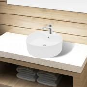vidaXL Керамична кръгла мивка с корито, преливник и отвор за смесител, бяла