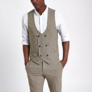 River Island Mens Brown dogstooth check waistcoat