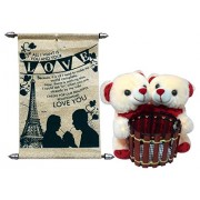 Gift For Girls- Couple Pen Stand Teddy With Love Scroll Card