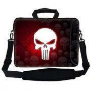 Meffort Inc 17 17.3 inch Neoprene Laptop Bag Sleeve with Extra Side Pocket Soft Carrying Handle & Removable Shoulder Strap for 16 to 17.3 Size Notebook Computer - Red Skull Design