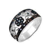 Inel antichizat din argint si diamante albastre