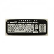 EZSee by DC: New and Improved - Large Print Computer Keyboard Wired USB White Keys with Black Jumbo Oversized Print Letters with Black Frame Improve Color Contrast for Visually Impaired Individuals, Visually Challenged Person