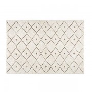 Maisons du monde Tappeto in lana e tessuto bianco a motivi 140x200cm KLAMA
