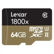 Lexar Professional 1800x microSDXC 64GB Kit - LSDMI64GCRBEU1800R