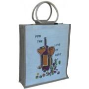 Jutová taška na 3 vína s obrázkem