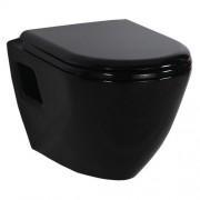 Toiletpot Hangend DC00325 49,5x35,5x33,5cm Wandcloset Keramiek Diepspoel Nano Coating EasyClean Glans Zwart met Bidet en Softclose Toiletbril