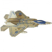 Magideal DIY 3D Wooden Jigsaw F-22 Raptor Fighter Model Construction Kit Toy Puzzles