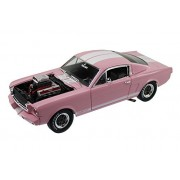 1965 Ford Shelby Mustang Gt 350 R Pink With White Stripes With Racing Engine 1/18 By Shelby Collectibles Sc176